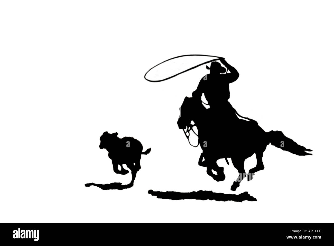 Black and white silhouette cutout of cowboy chasing after calf with lasso at a rodeo - Stock Image