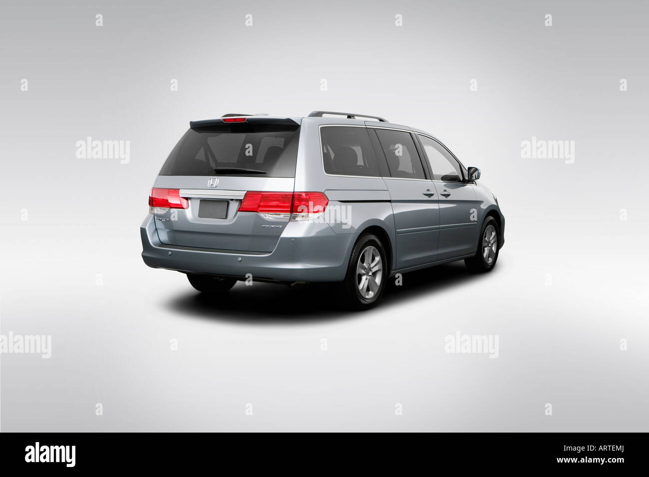 2008 Honda Odyssey Touring In Green   Rear Angle View   Stock Image
