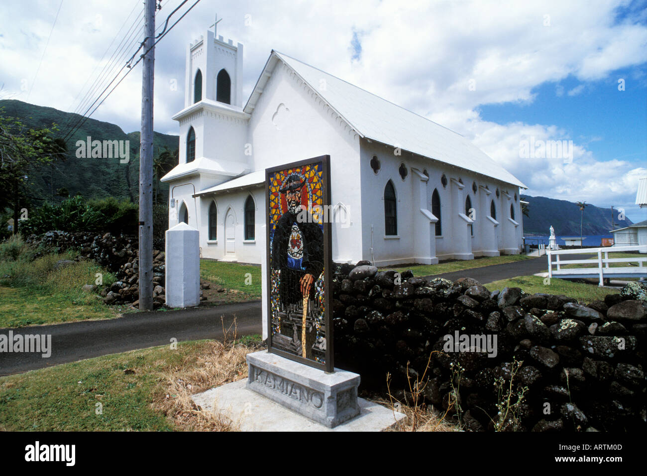 Father Damian Memorial Church of St Francis Kalaupapa Molokai Hawaii - Stock Image