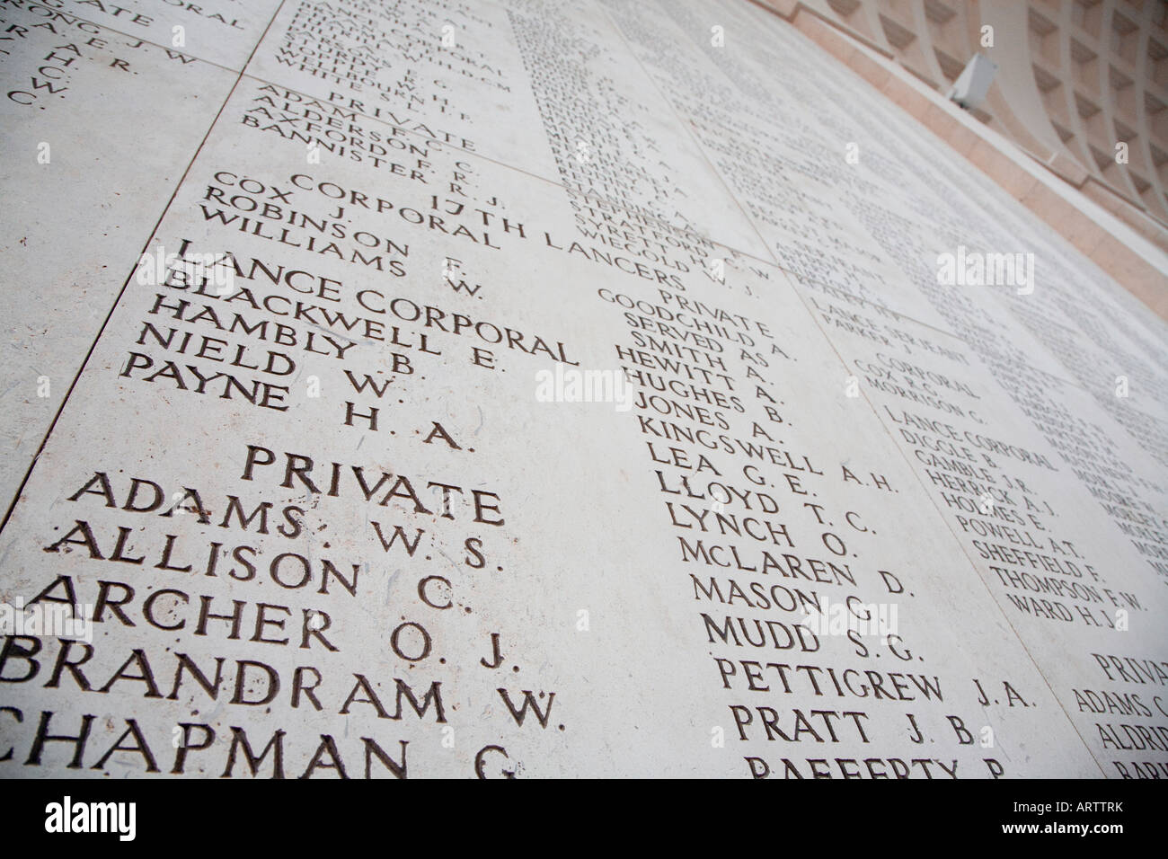 Names of war dead inscribed in the Menin Gate Ypres Belgium - Stock Image