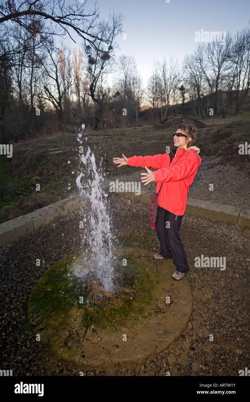 The Lignat intermittent spring (Puy de Dôme - France). Source intermittente de Lignat (Puy-de-Dôme - France). - Stock Image