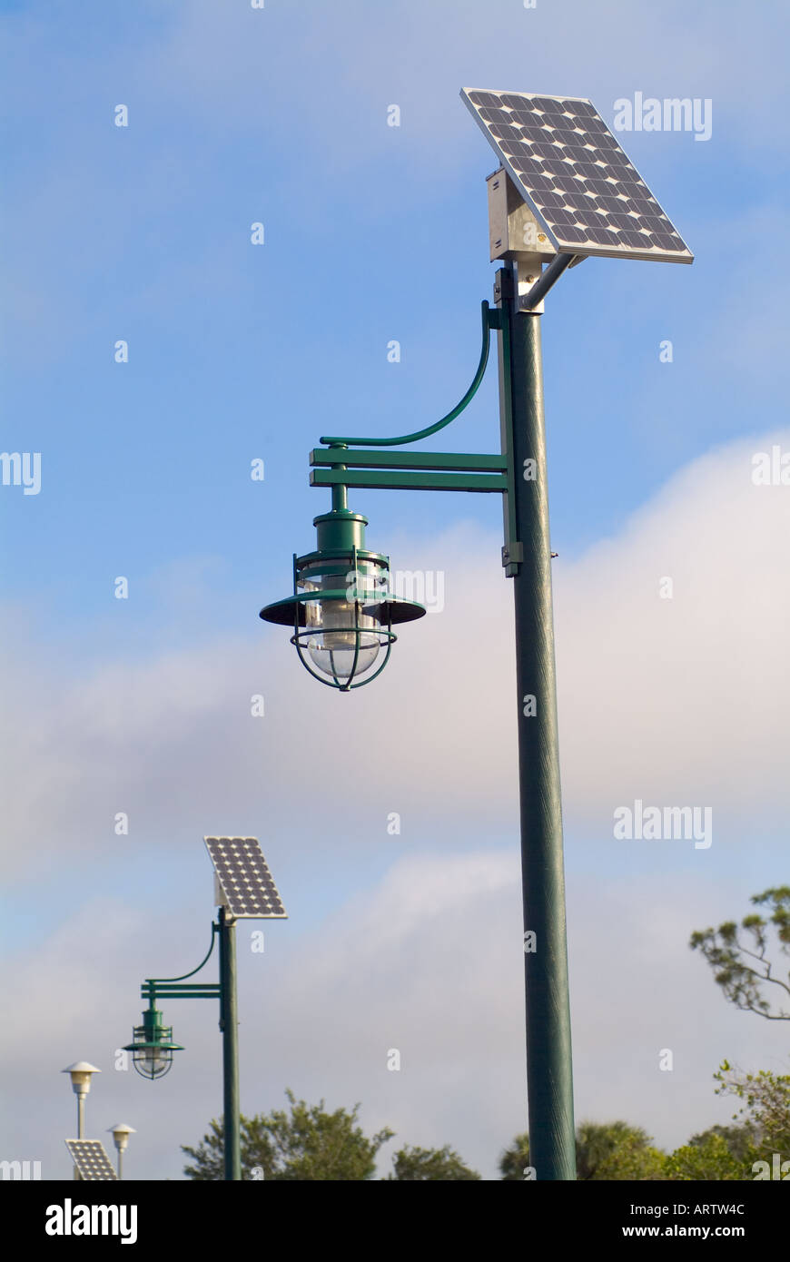 solar powered lights lighting outdoor illumination alternative energy sources panels - Stock Image