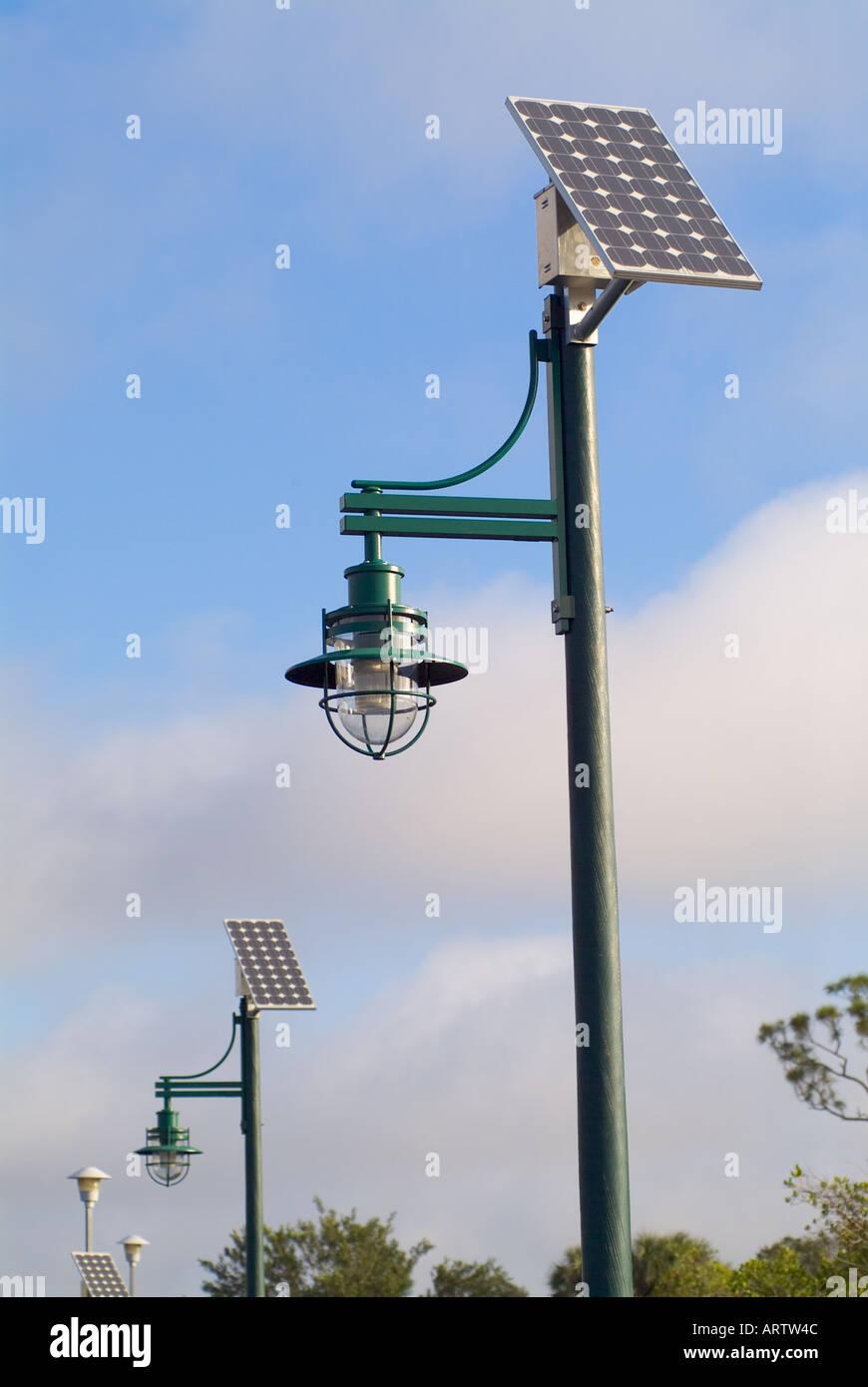 Solar Powered Lights Lighting Outdoor Illumination Alternative Energy Stock Photo Alamy