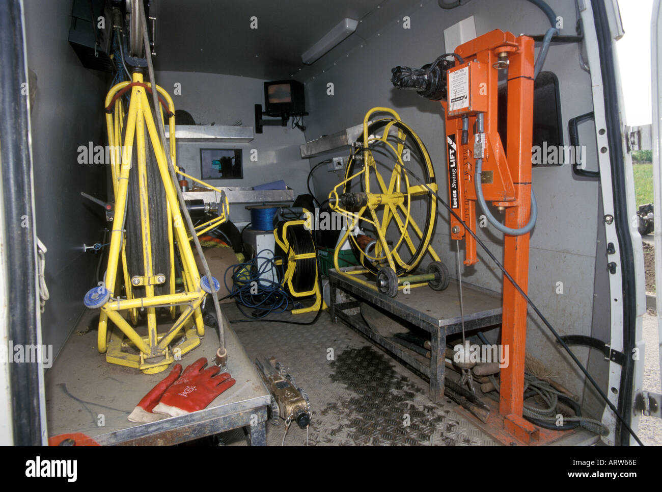Inside a CCTV van used to inspect sewers Stock Photo