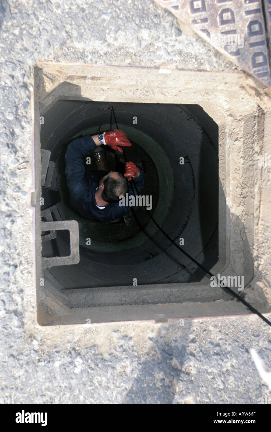 Inspecting a sewer using CCTV - Stock Image