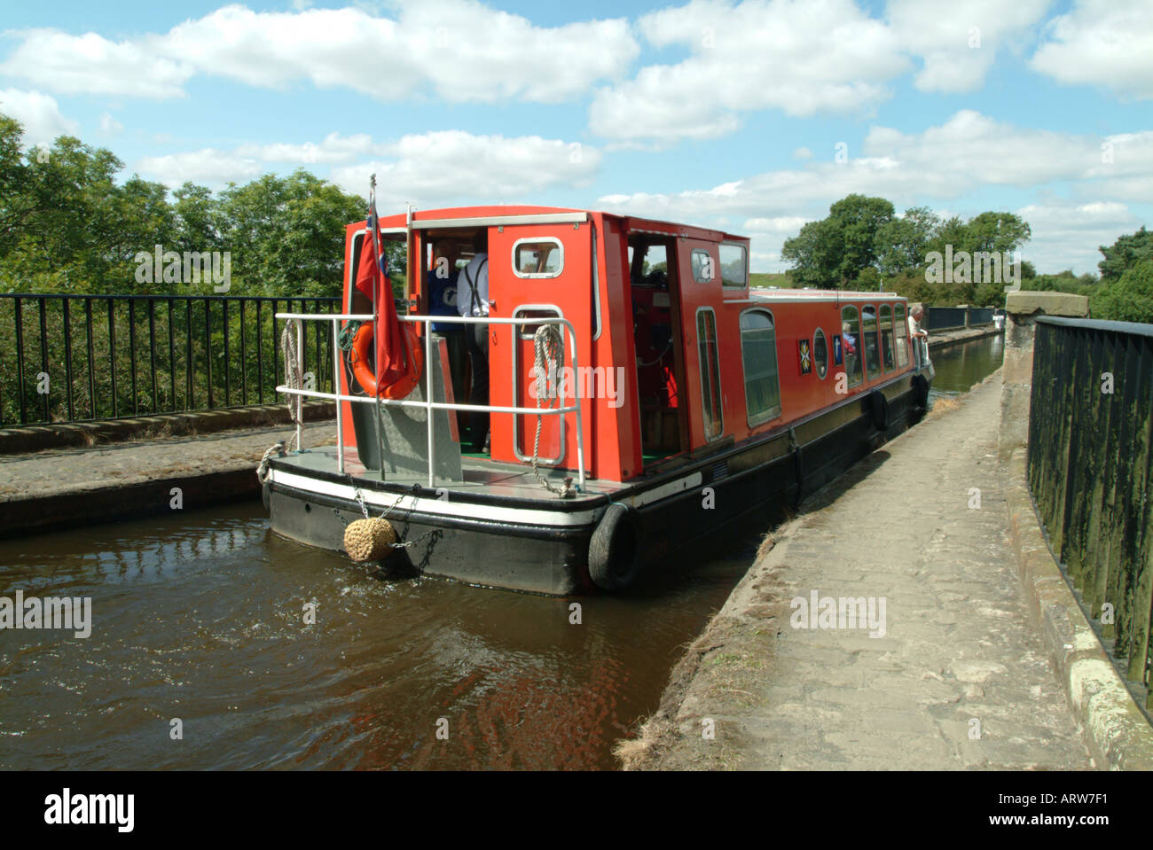 A narrow boat on the aqueduct over the river Almond in West Lothian Scotland Stock Photo