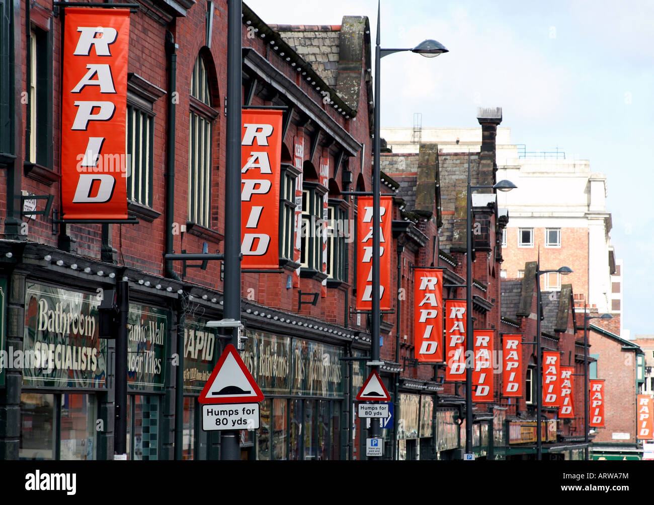 Entire street in centre of Liverpool has gradually been taken over by hardware store Rapid which now occupies all - Stock Image