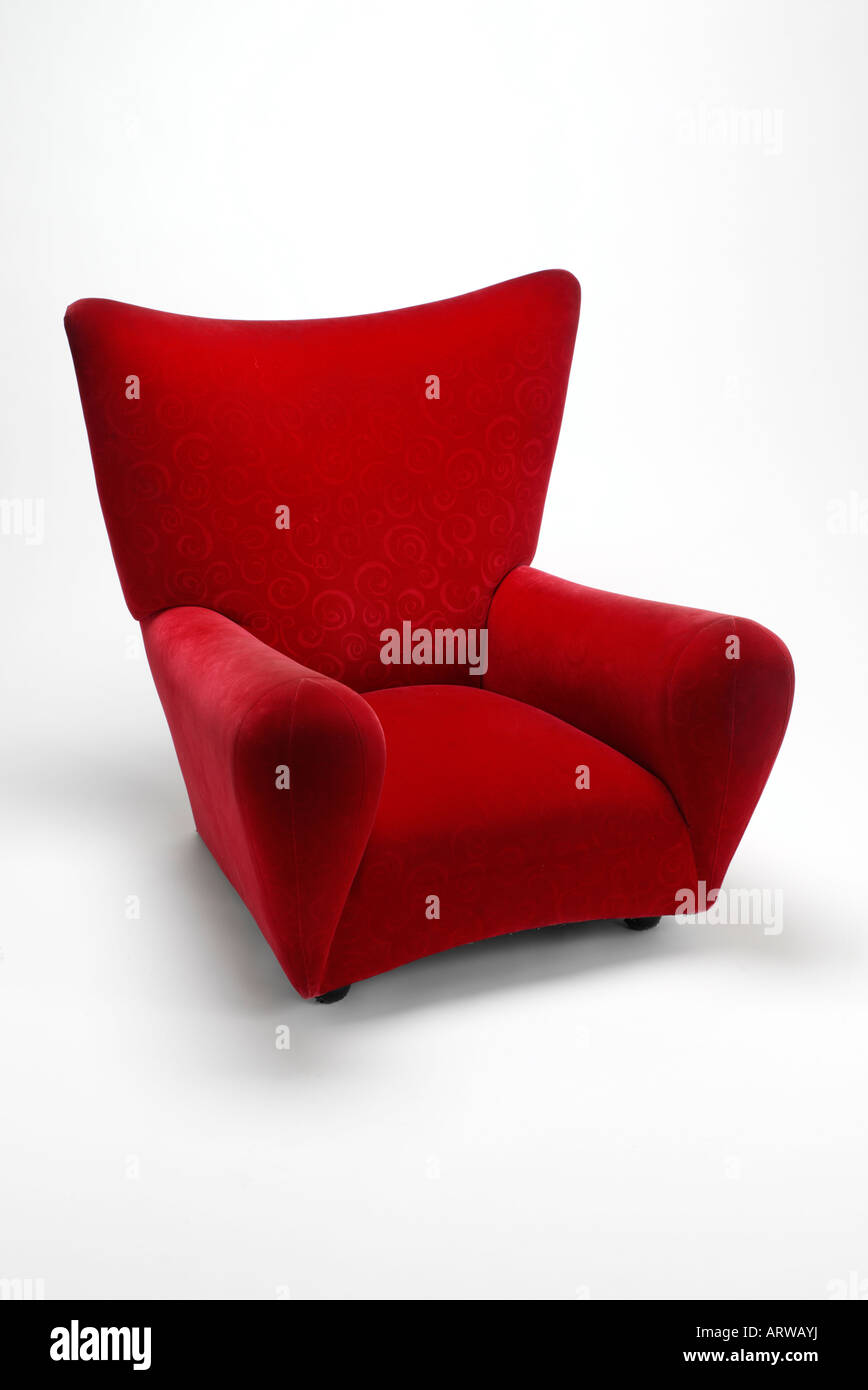 Red arm chair - Stock Image