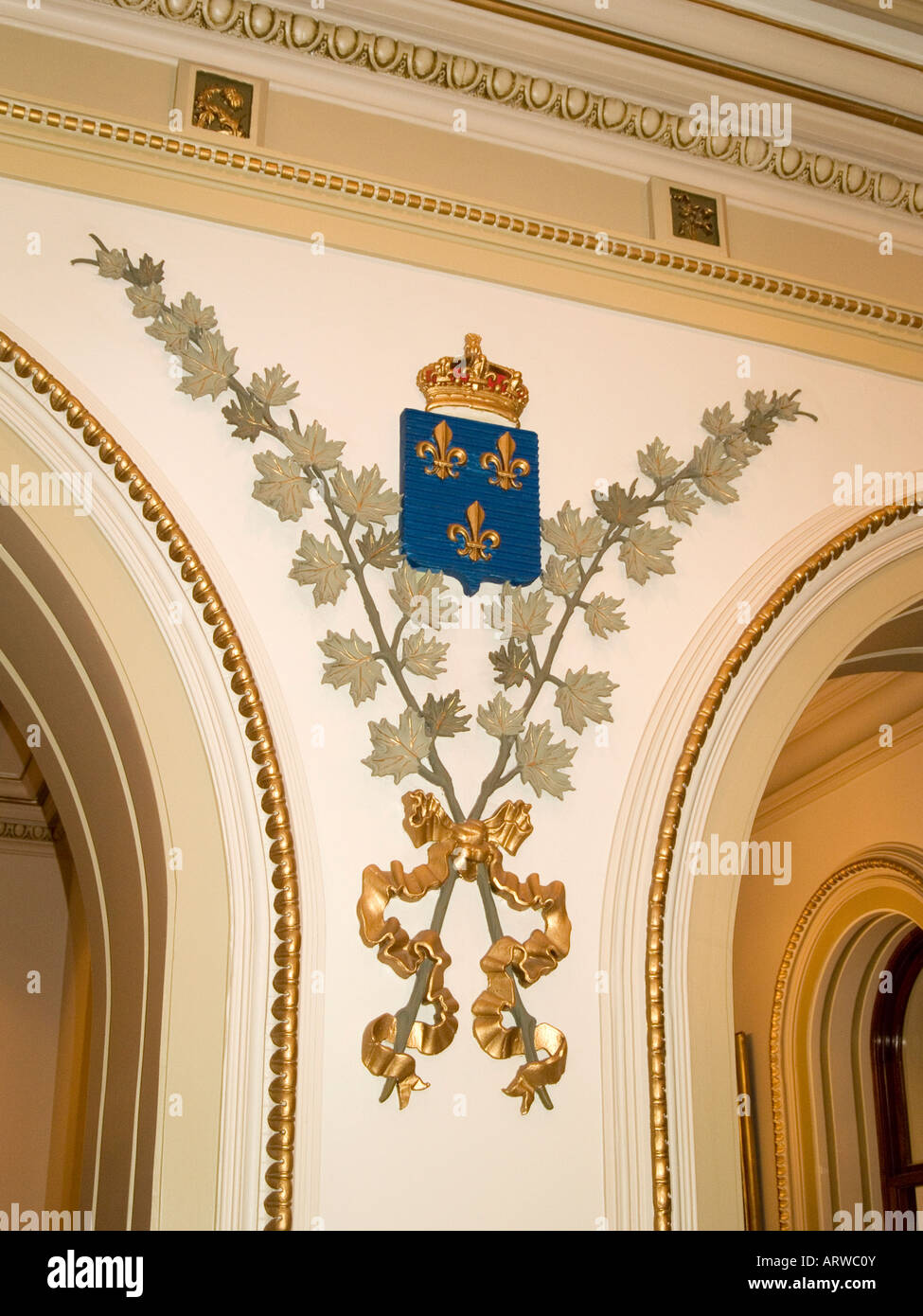The French Coat Of Arms On The Wall Inside The Assemblee Nationale On  Grande Allee, Quebec City Canada