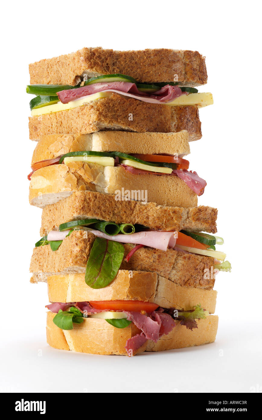 pile of sanwiches - Stock Image