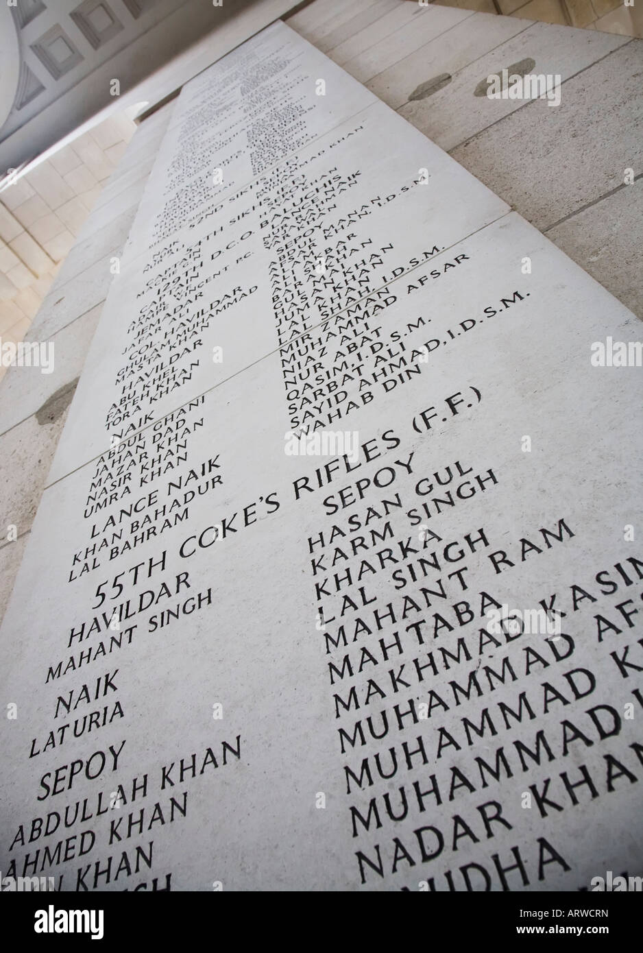 Names of war dead from troops of 55th Coke's Rifles part of the British Indian Army inscribed in the Menin Gate - Stock Image