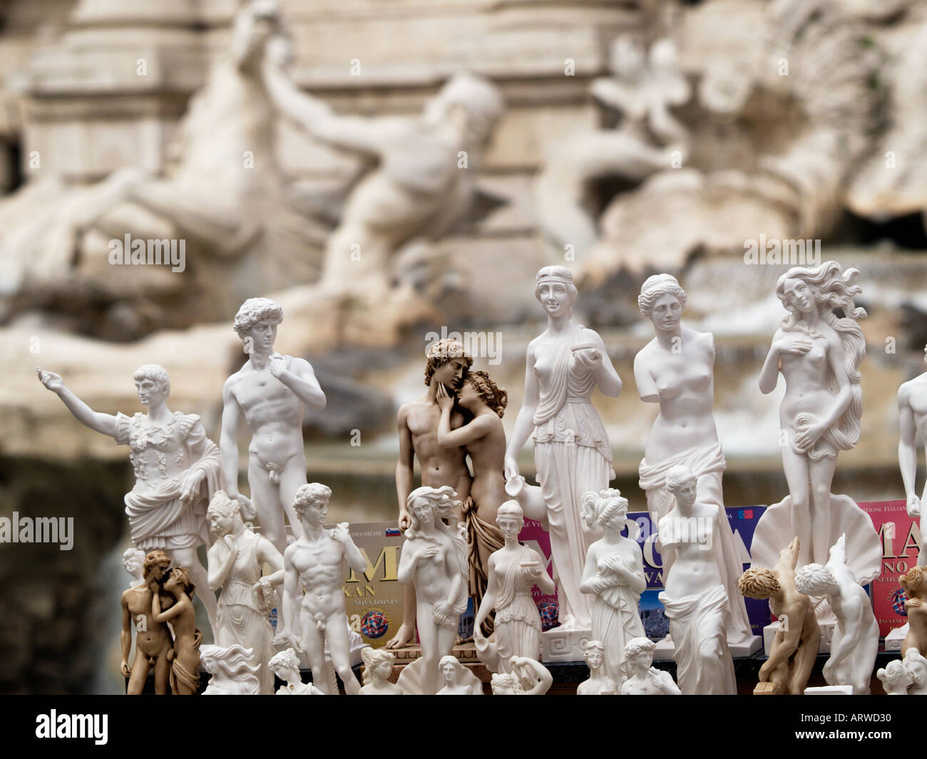 Closeup of a row of typical roman souvenir statues image taken in front of the Trevi fountain Rome Lazio Italy Stock Photo