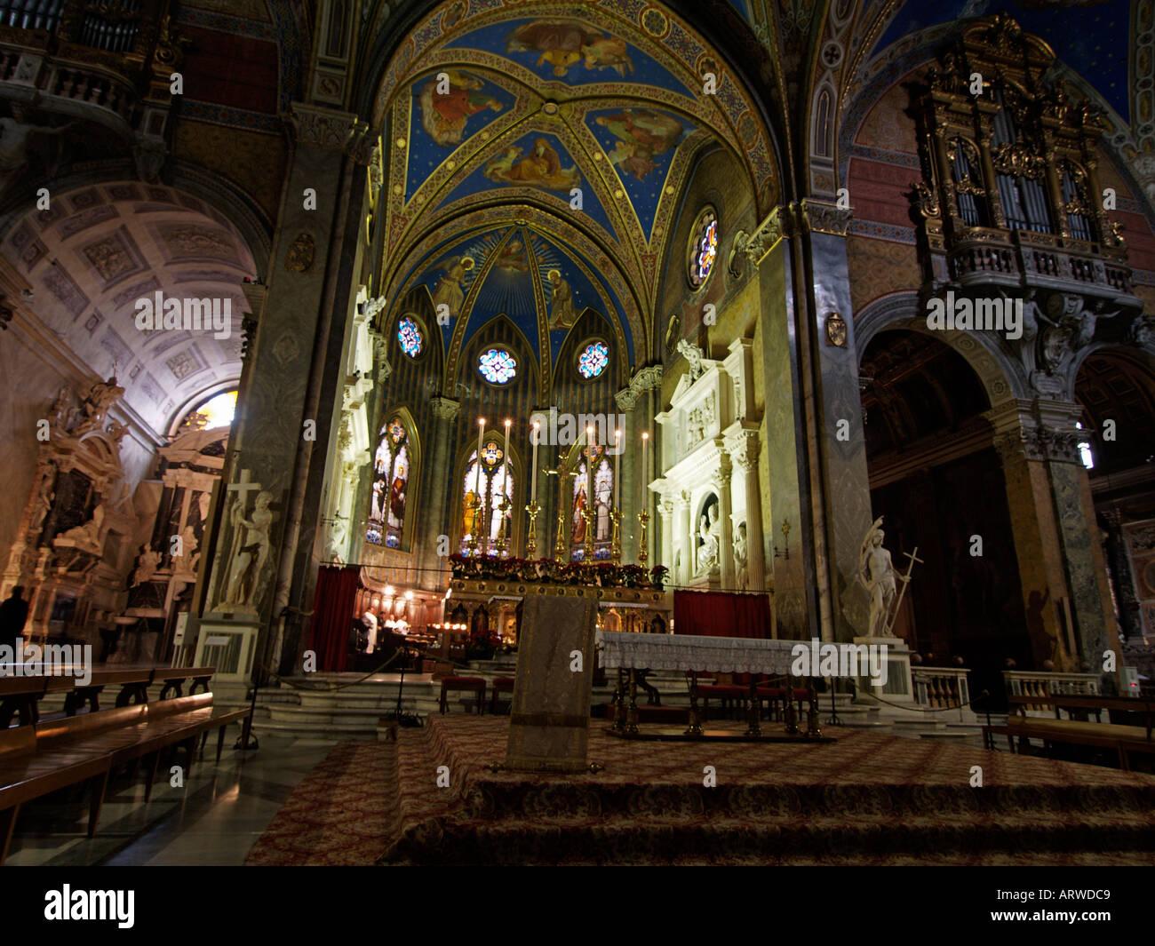 The lavishly decorated interior of the Santa Maria Sopra Minerva church on Piazza della Minerva in Rome Italy Stock Photo