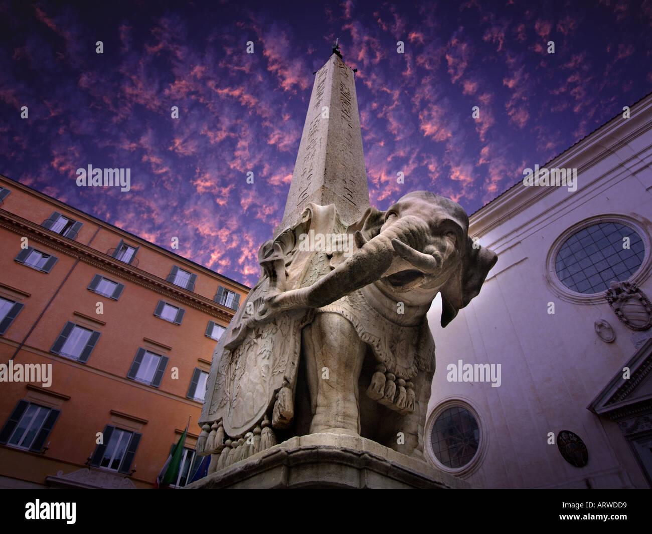 Bernini designed this elephant to carry the obelisk of the Santa Maria Sopra Minerva on Piazza della Minerva Rome Stock Photo