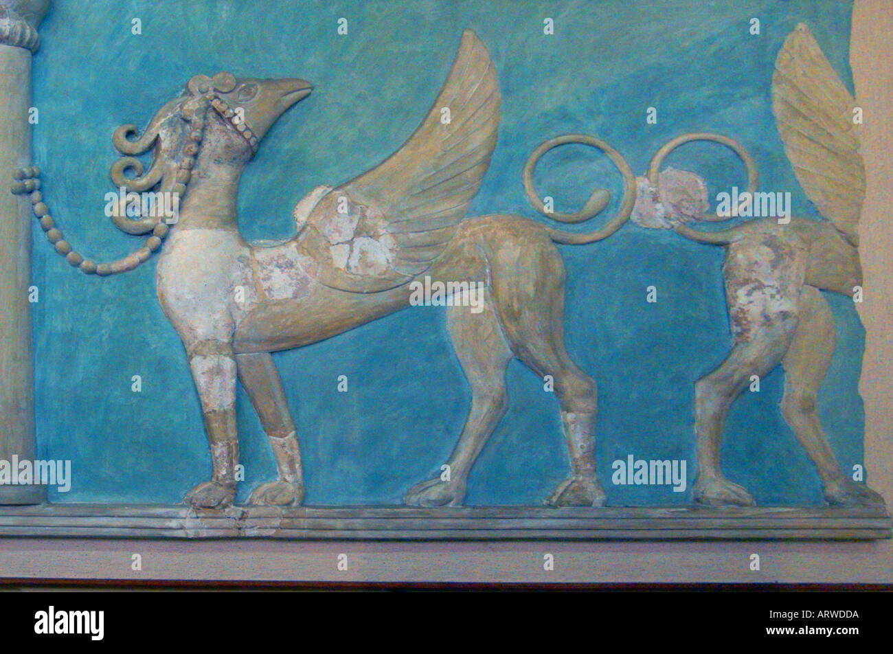 Ancient Greek fresco of flying horse in the Minoan Iraklion museum in Knossos Crete Greece Europe - Stock Image