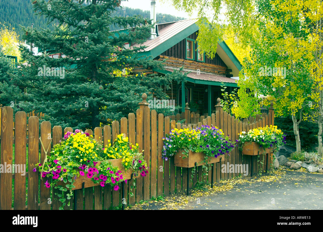 Residential Flower Boxes With Fence In Crested Butte Colorado Usa