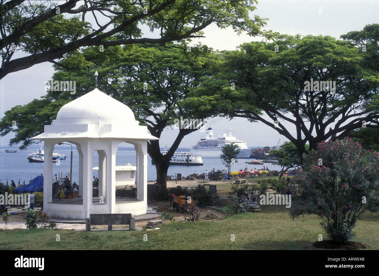 View from Forodhani or Peoples Gardens in the old stone town of Zanzibar Tanzania East Africa - Stock Image