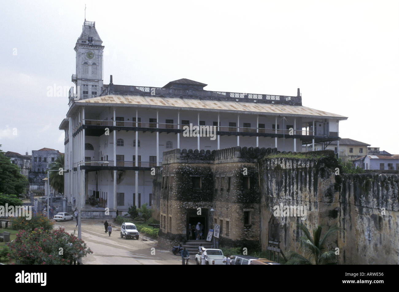 The House of Wonders or Beit el Ajaib and the Old Arab Fort in the stone town Zanzibar Tanzania East Africa - Stock Image