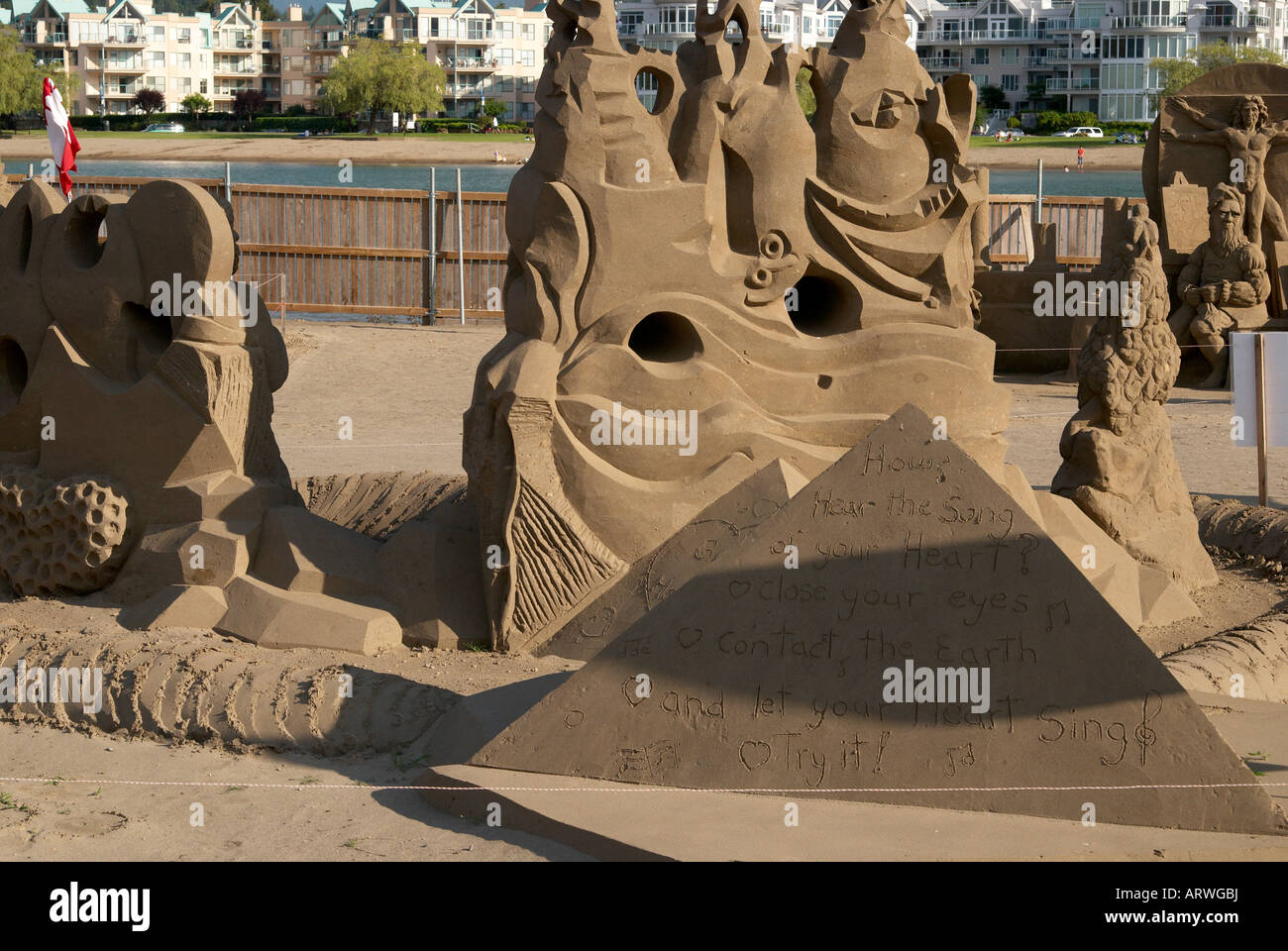 Harrison Hot Springs, near Vancouver considers itself to be the sand sculpture capital of the world. - Stock Image