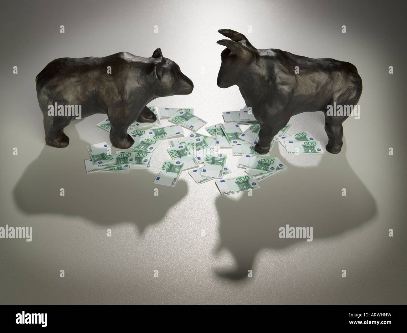 bear and bull with euro currency Stock Photo