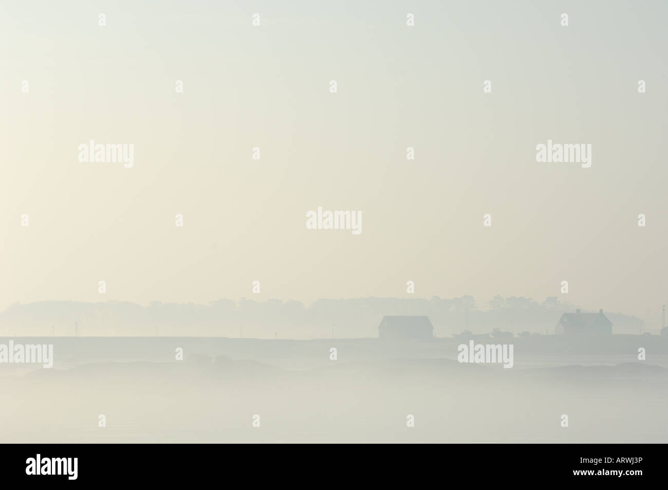 Ballywalter shrouded in mist County Down Northern Ireland - Stock Image