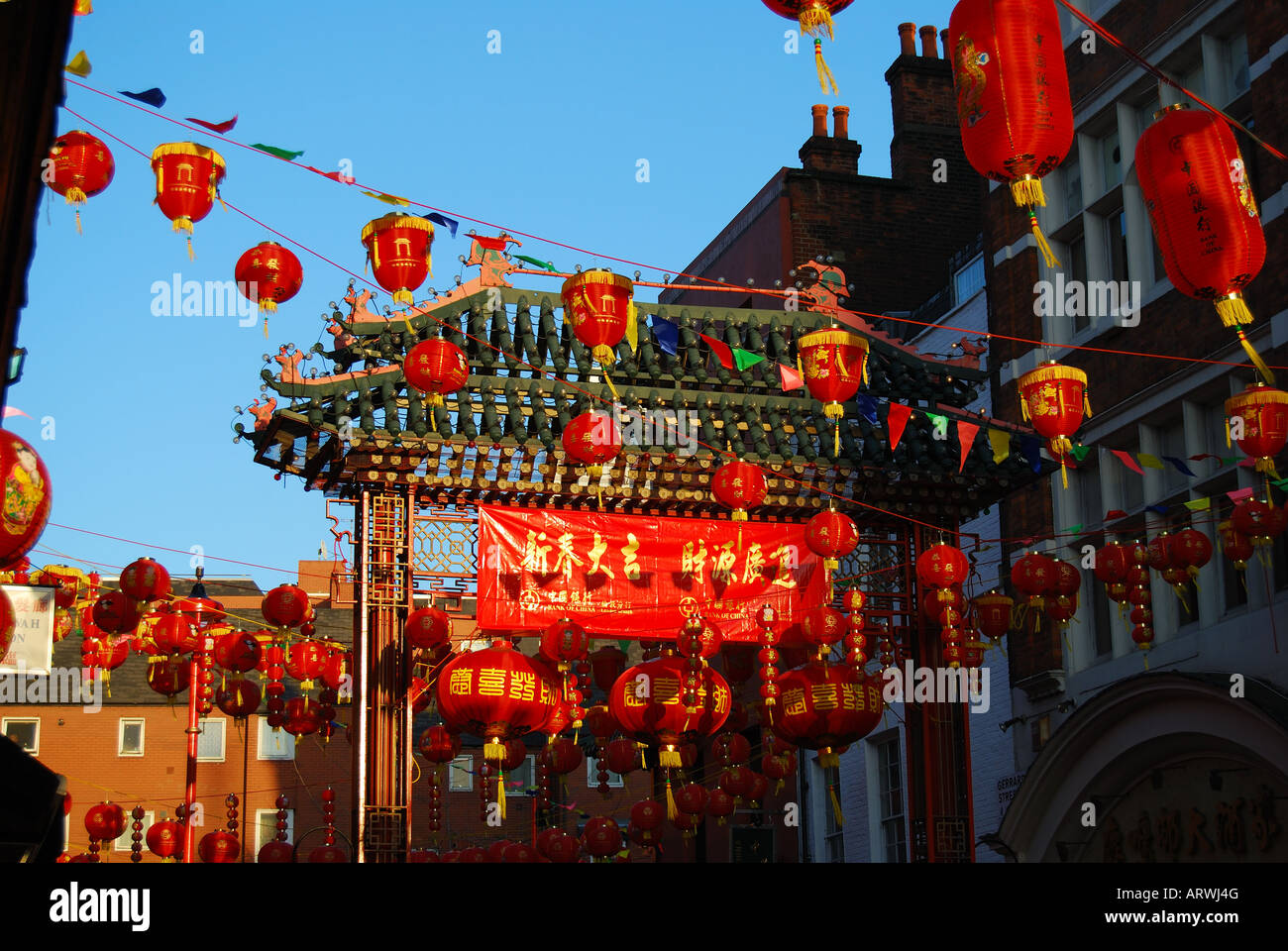 Chinese New Year decorations, Chinatown, Soho, West End ...