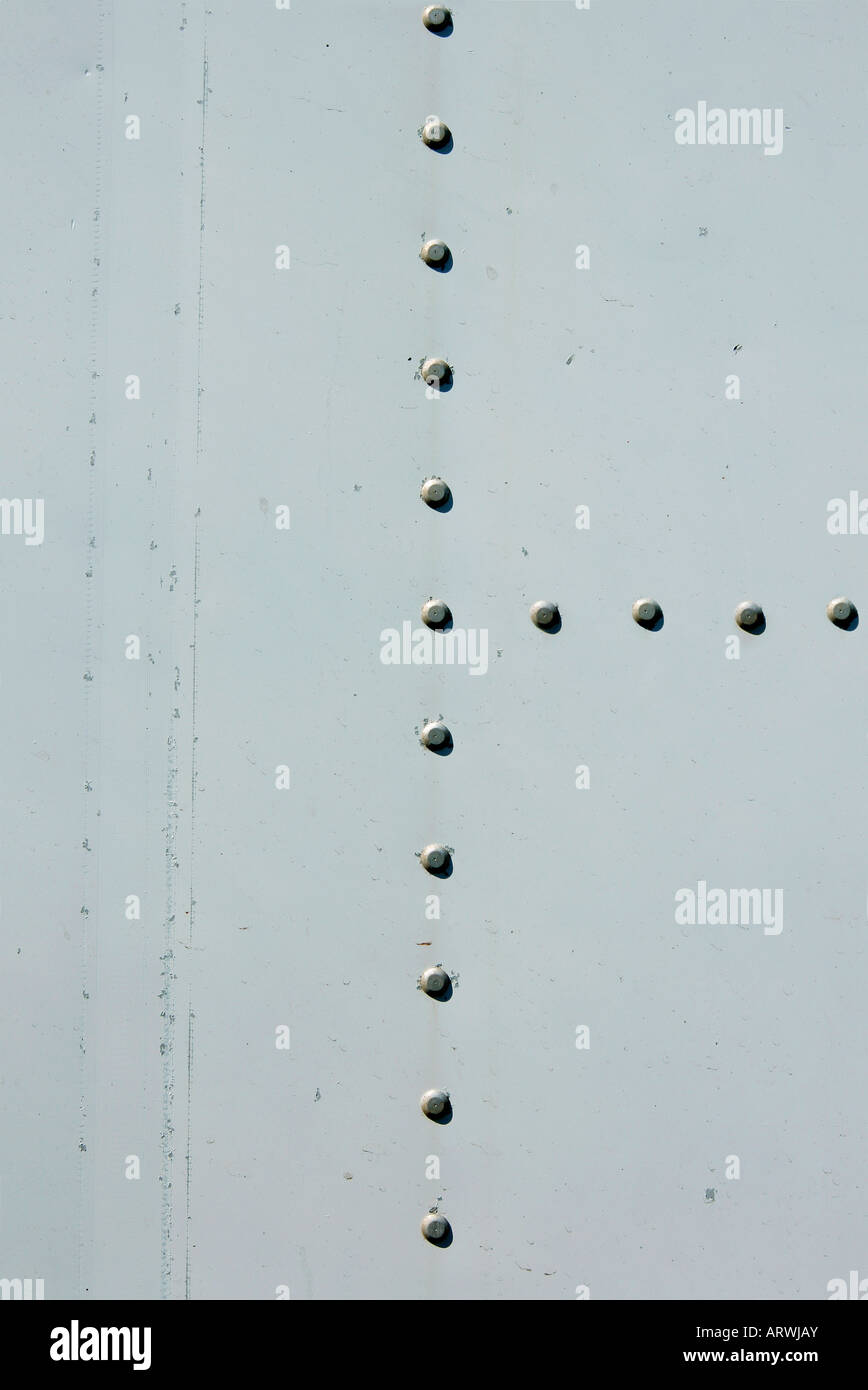 Metal industrial plate background with rivets Stock Photo