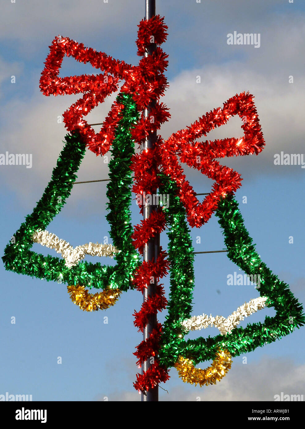 christmas decorations on a power pole in a shopping center stock image - Christmas Pole Decorations