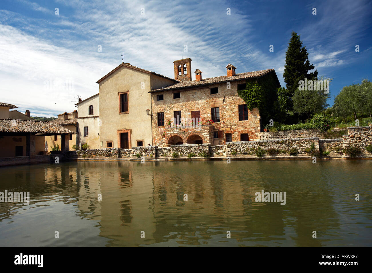 Thermal baths of Bagno Vignoni near Pienza Val d Orcia Tuscany Italy ...