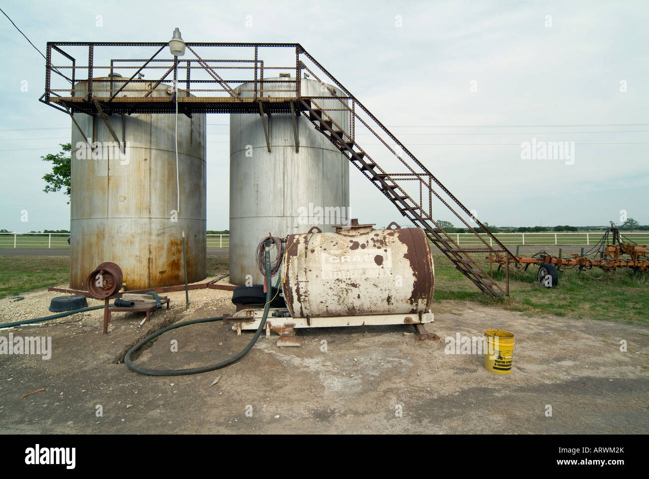 Farm equipment near Celina, a small town in Texas. - Stock Image