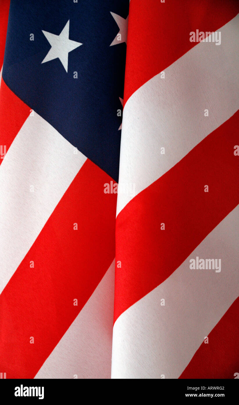 Stars and stripes flag waving in the wind - Stock Image
