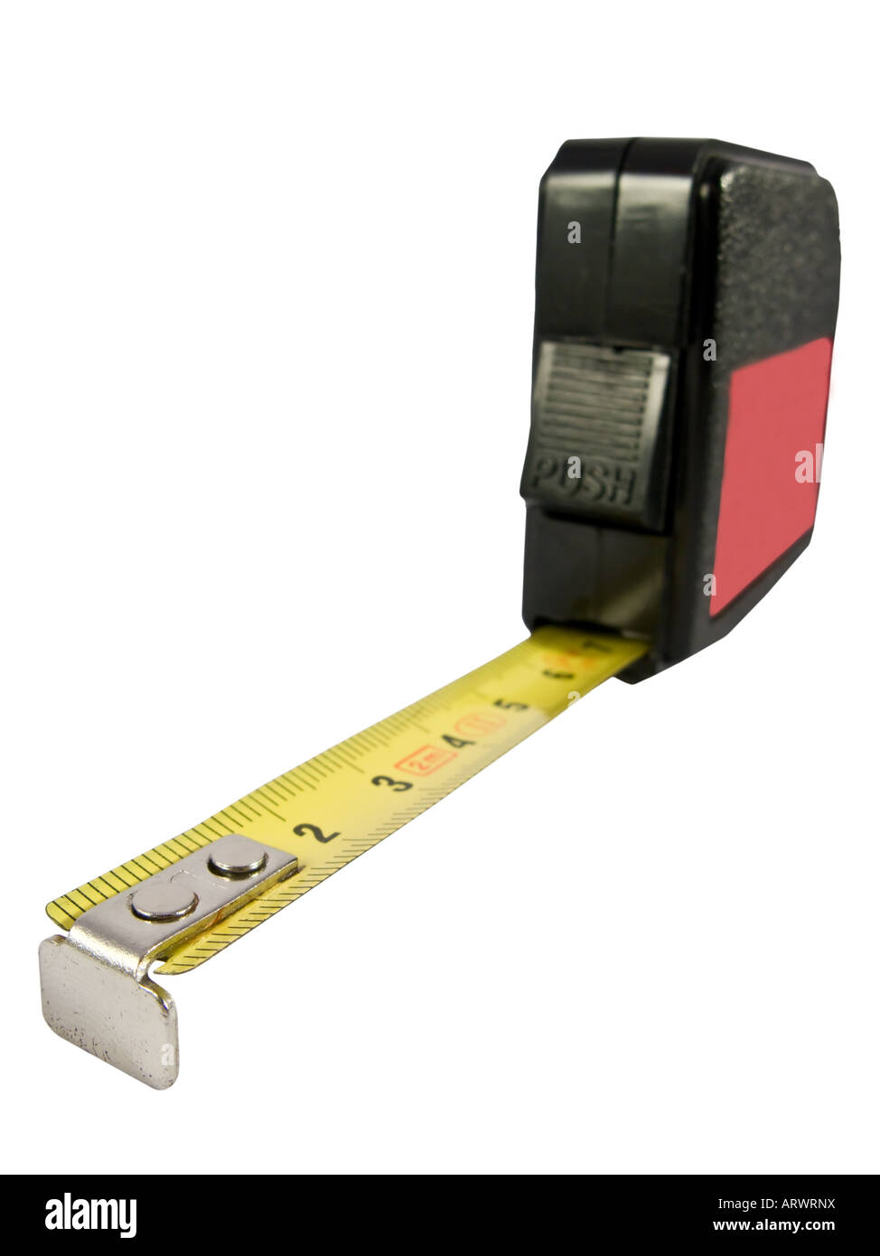 tape measure in metal with metric system - Stock Image