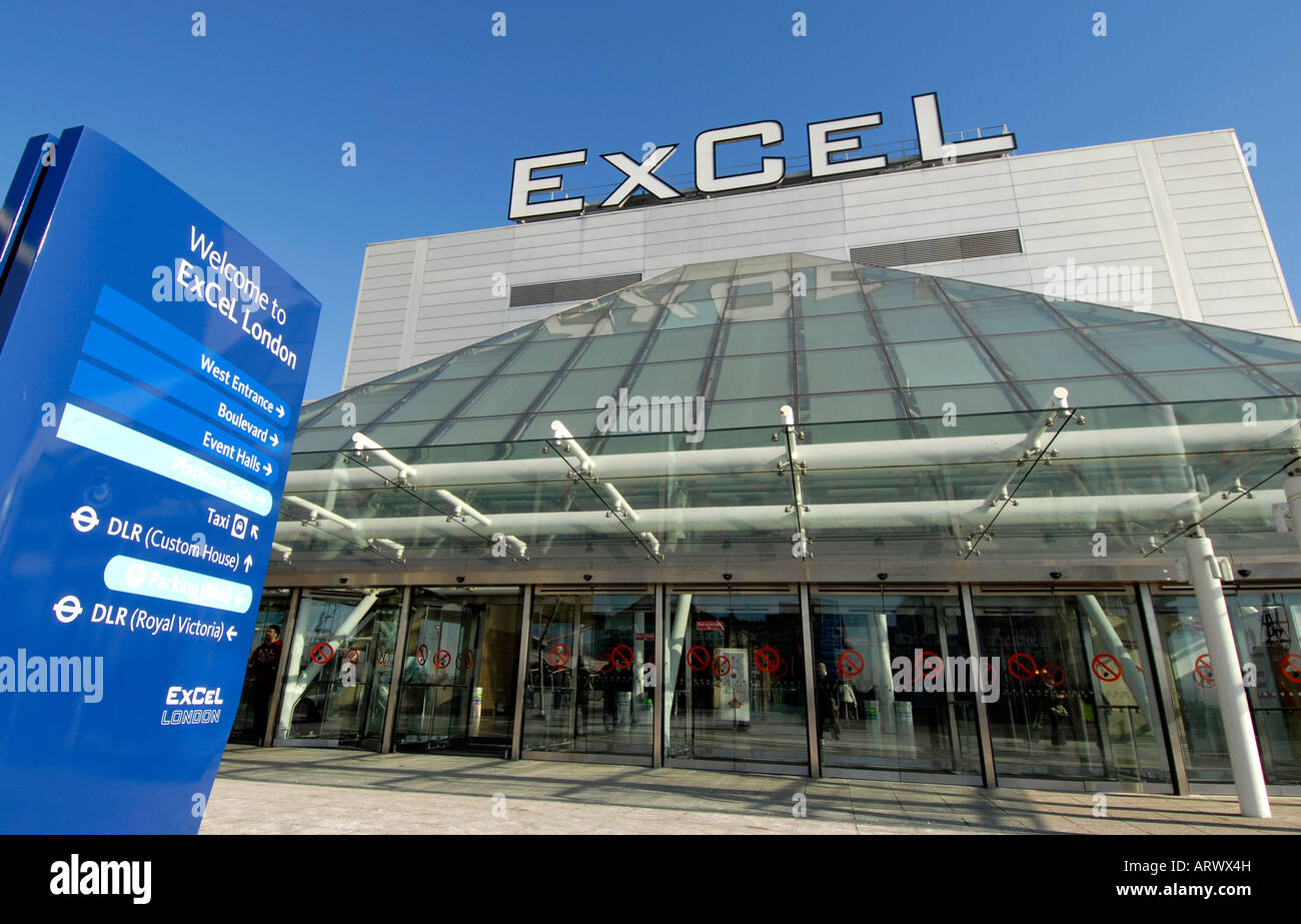 Exterior of west entrance to Excel Exhibition Centre Docklands London U K - Stock Image