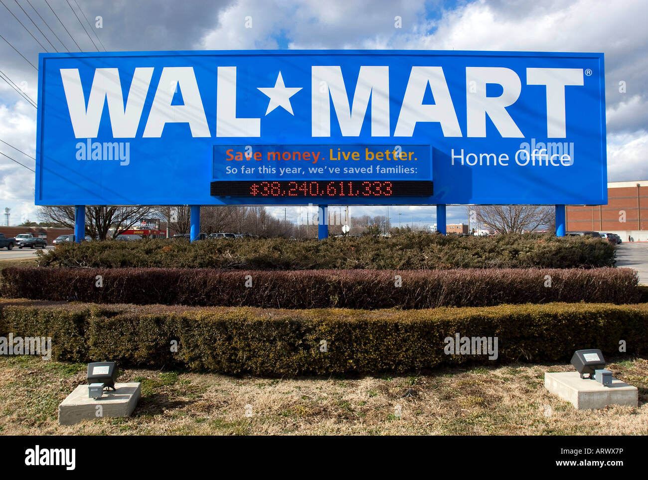 Wal-Mart's new sign showing its new 'Save Money, Live Better' slogan at the retail giant's Home - Stock Image