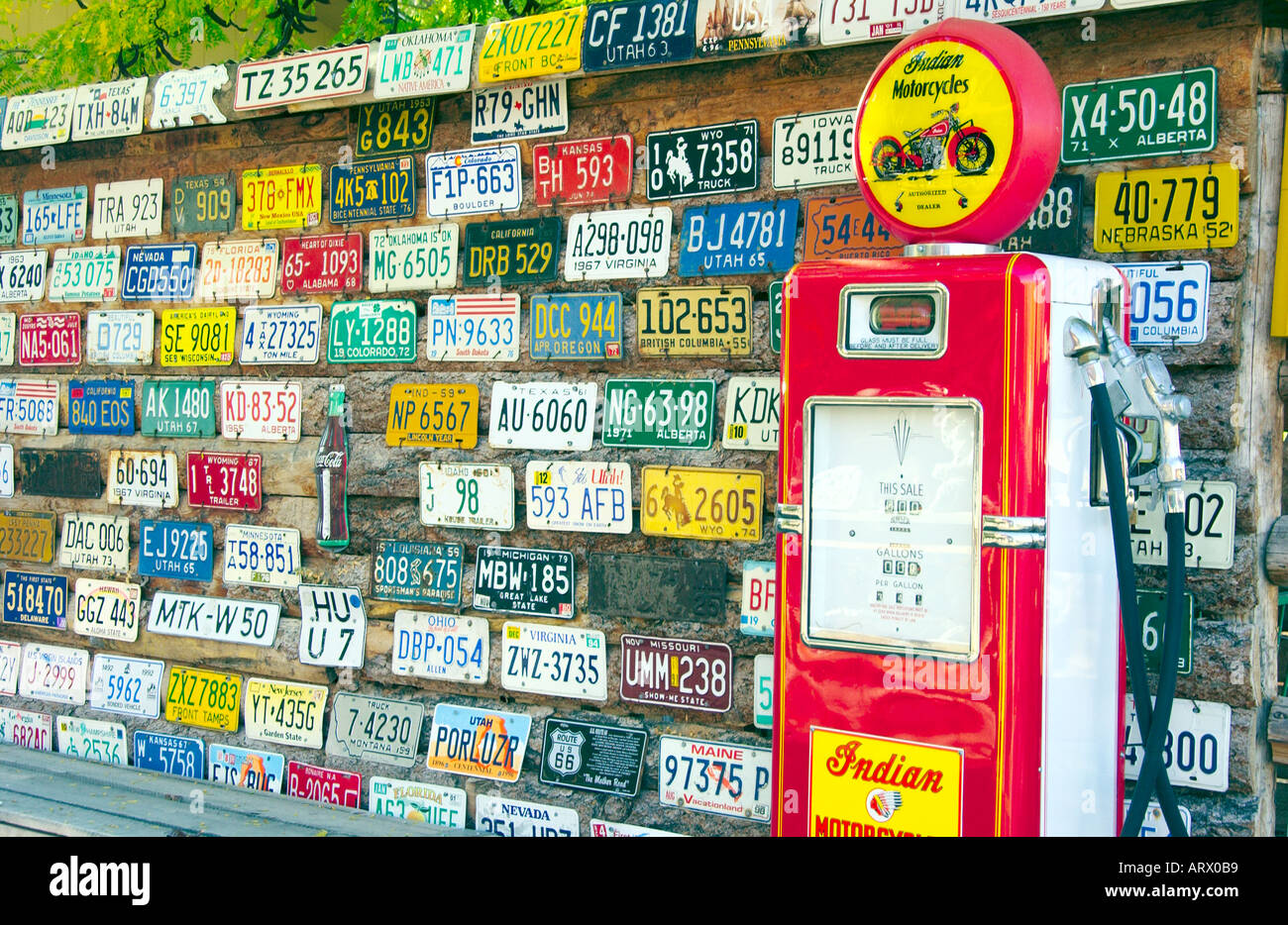 License Plate And Gasoline Pump Display At Hole In The Rock Utah Usa Stock Photo Alamy