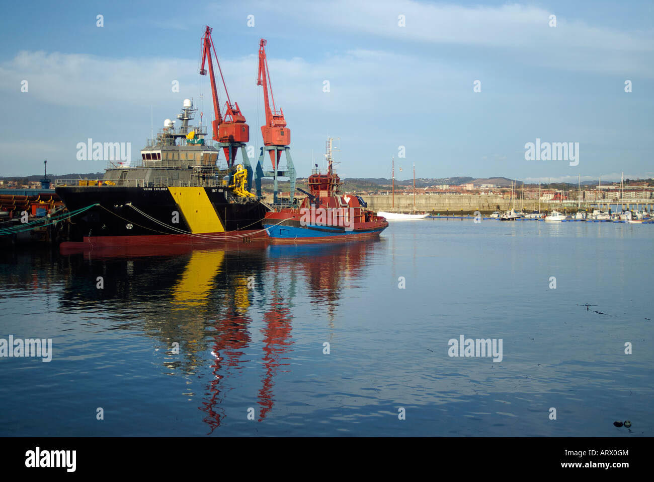 Ships tied to port Stock Photo