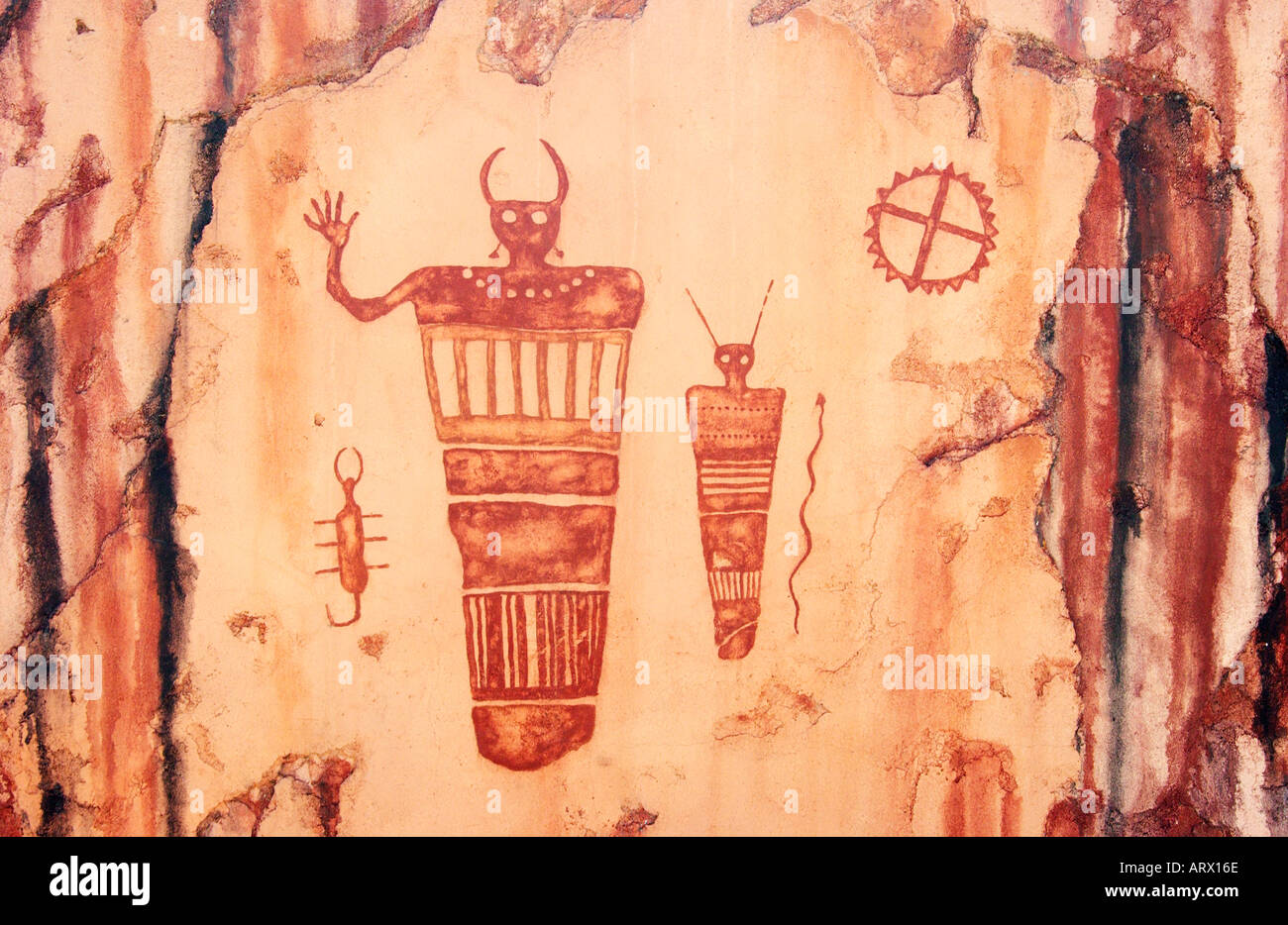 Anasazi indian petroglyphs in Moab Utah USA - Stock Image