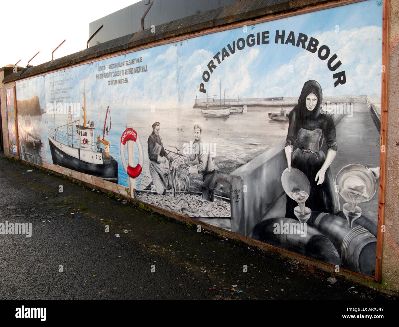 Wall mural at Portavogie harbour Northern Ireland - Stock Image