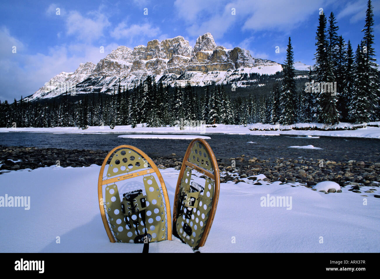 Snowshoes Bow River Castle Mountain Banff National Park Alberta Canada - Stock Image