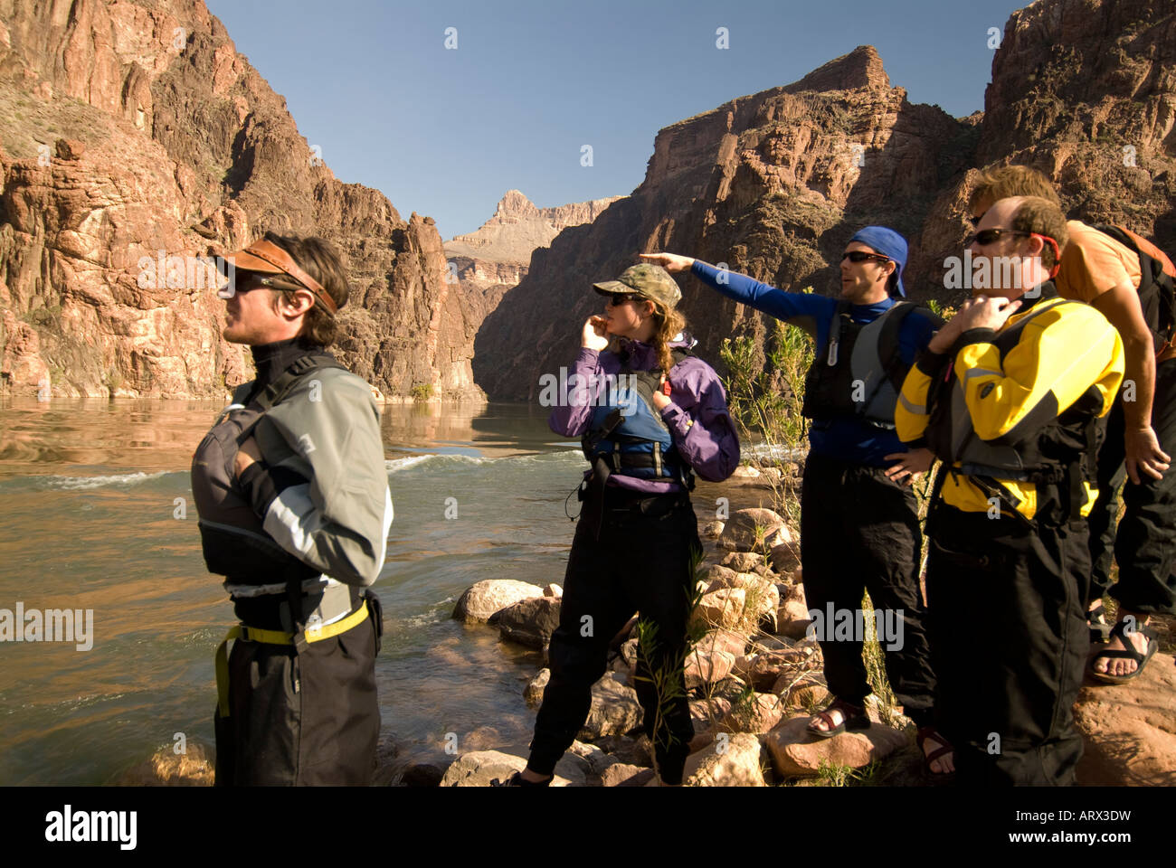 Scouting Granite Rapid on the Colorado River in the Grand Canyon National Park Arizona - Stock Image