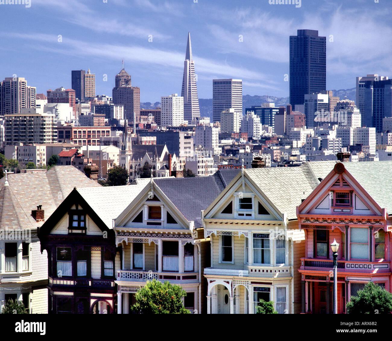 USA - CALIFORNIA: Alamo Square in San Francisco - Stock Image