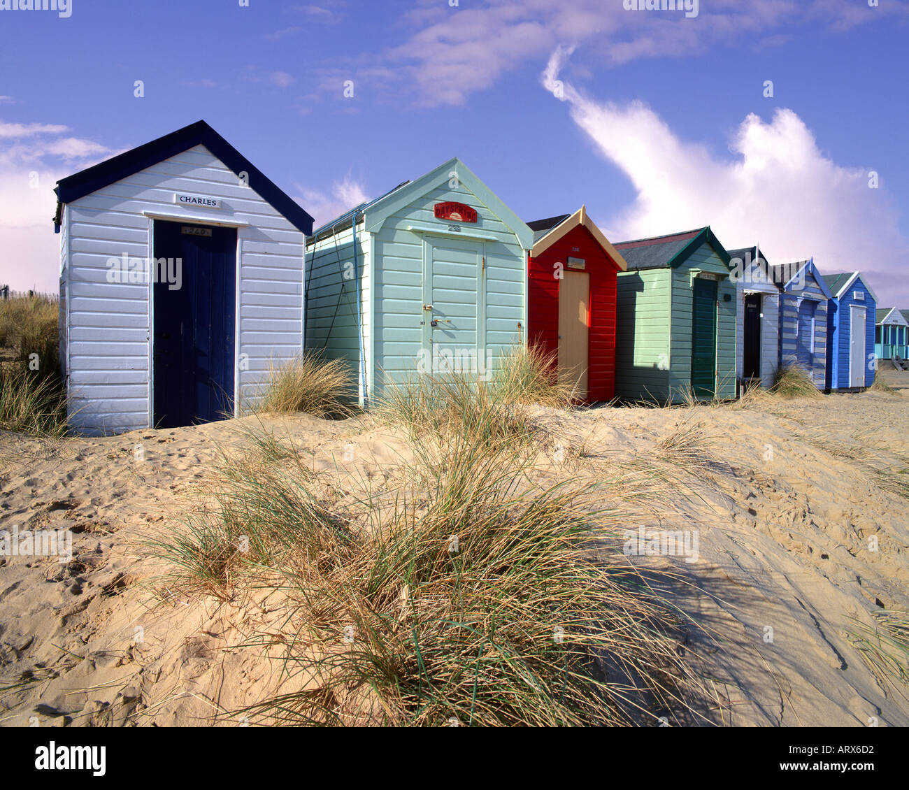 GB - SUFFOLK: Beach huts at Southwold Stock Photo