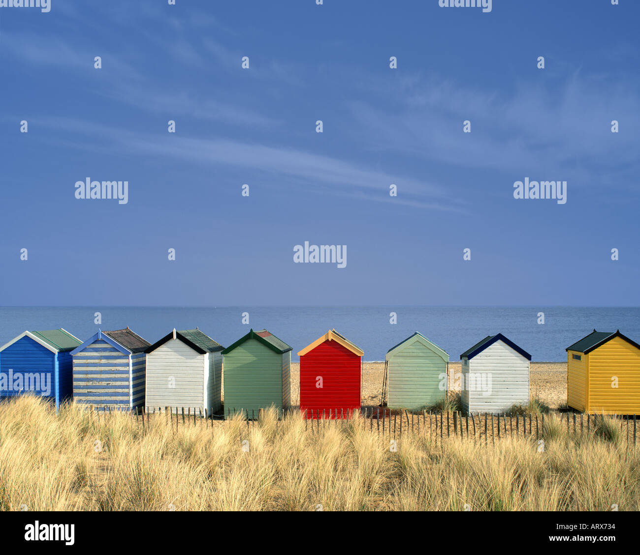 GB - SUFFOLK: Colourful beach huts at Southwold Stock Photo