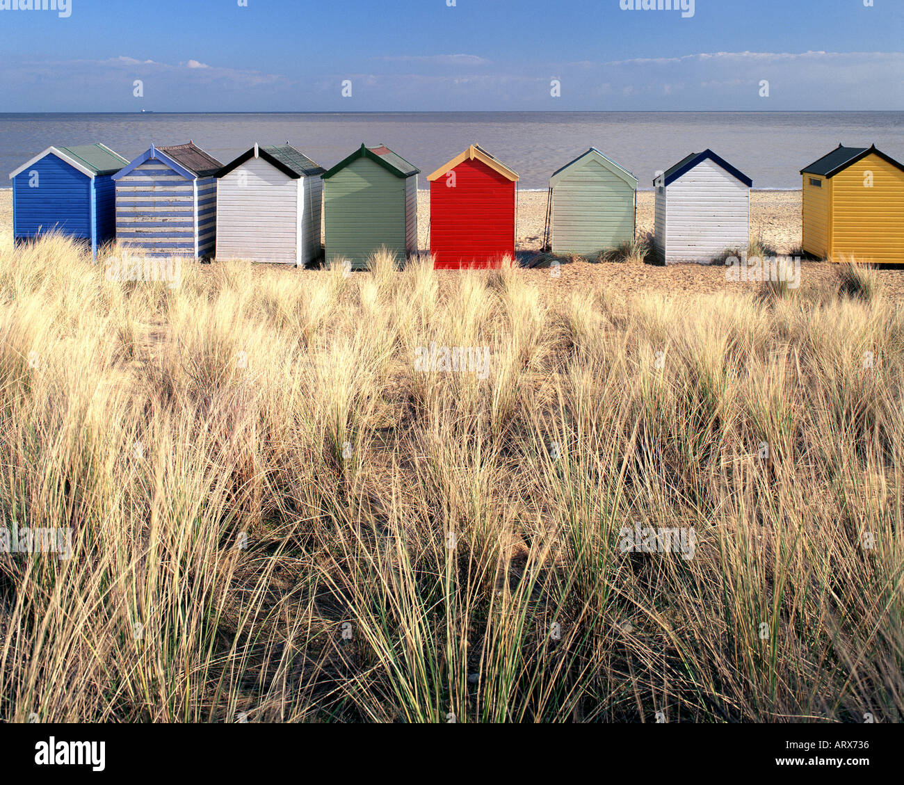GB - SUFFOLK: Traditional beach huts at Southwold Stock Photo