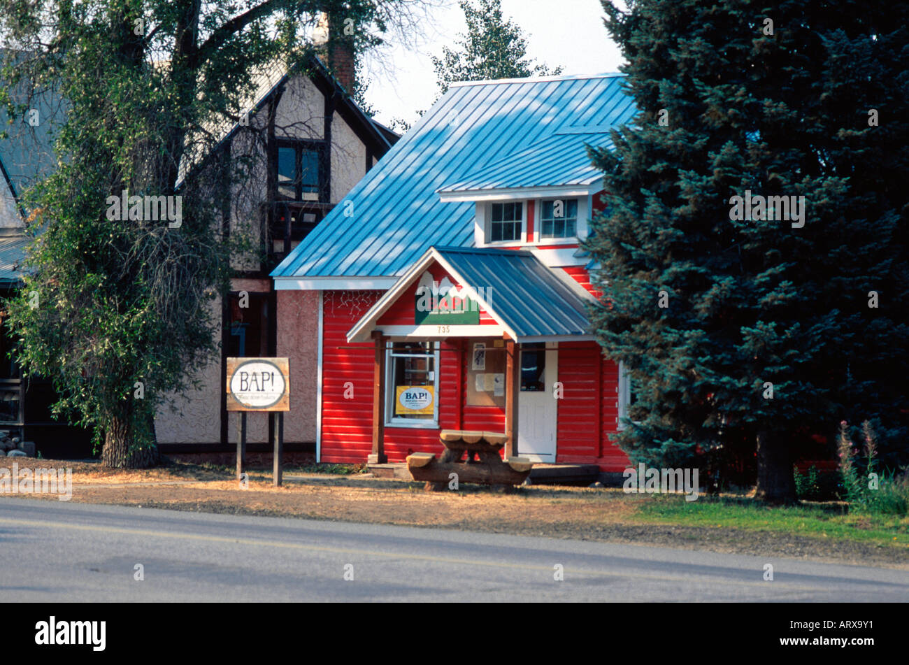 BAP Retail store in converted red single family home Steamboat Springs CO USA Stock Photo