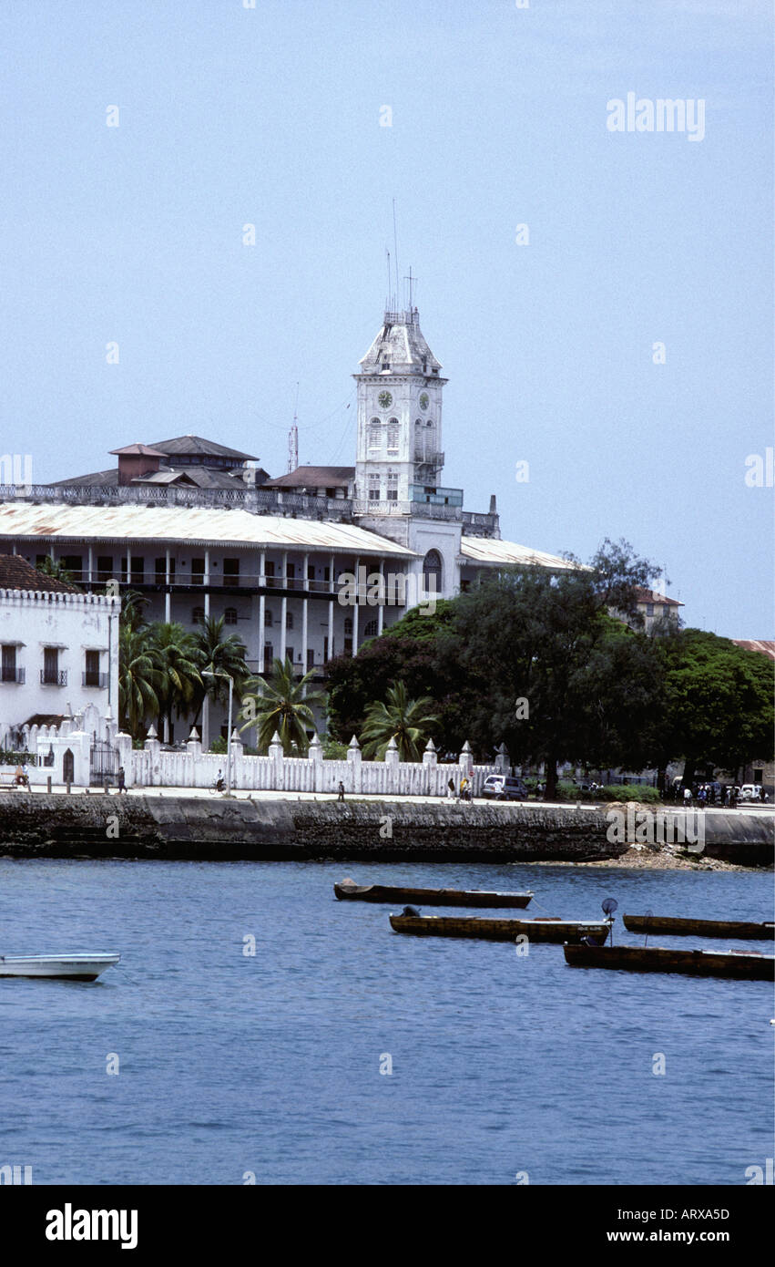 The House of Wonders and the Palace Museum seen from the harbour in Zanzibar Tanzania East Africa - Stock Image