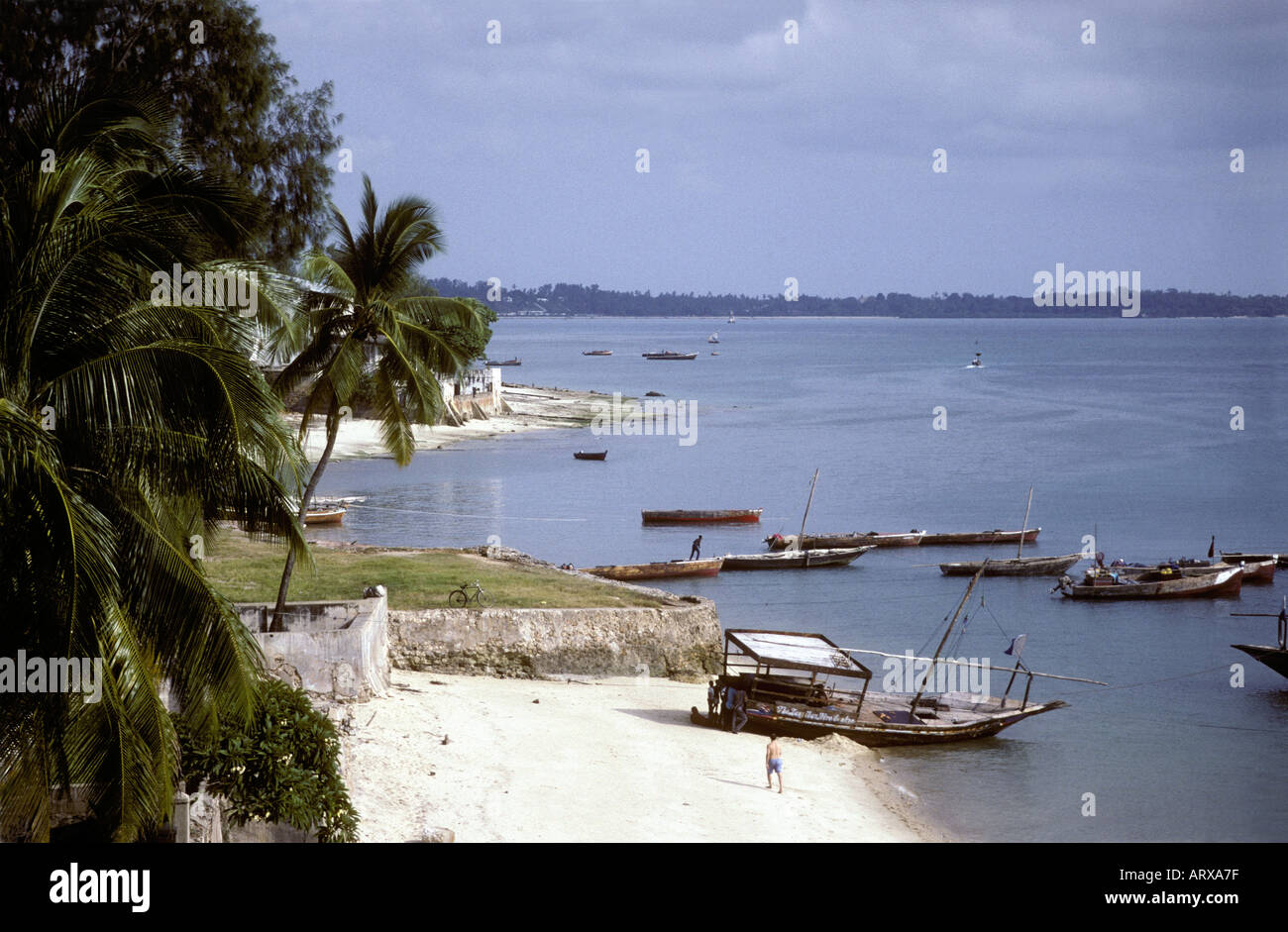 A sandy beach near the old stone town Zanzibar Tanzania East Africa - Stock Image