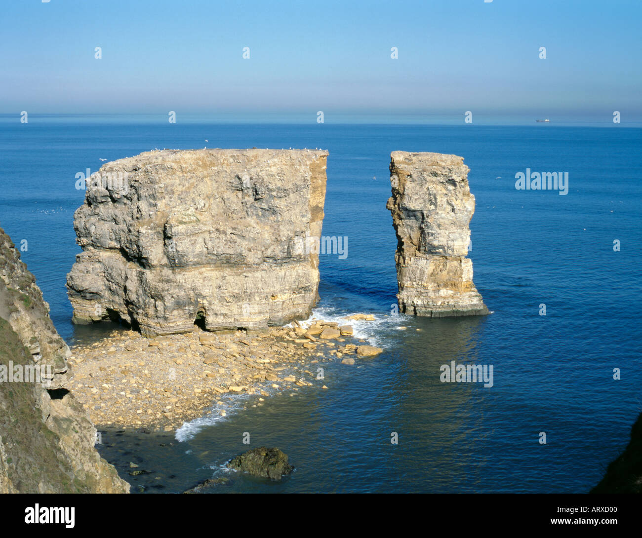 Collapsed Natural Rock Arch Through A Sea Stack Marsden