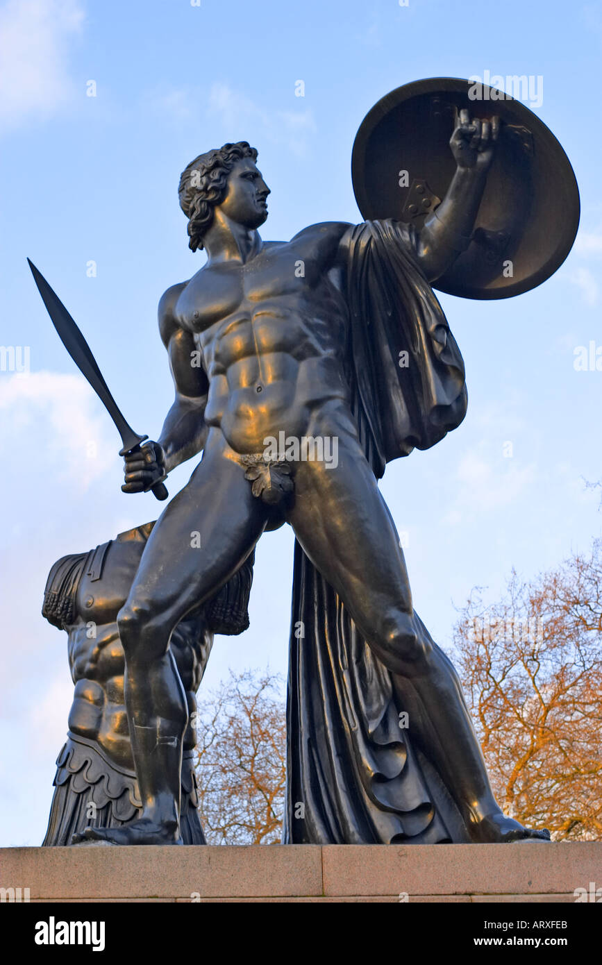 Statue of Achilles at Hyde Park Corner London England - Stock Image