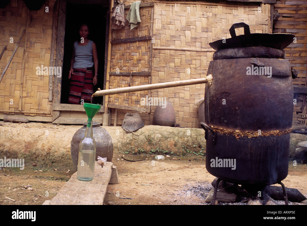 Moonshine still in a village in northern Laos 2004 - Stock Image